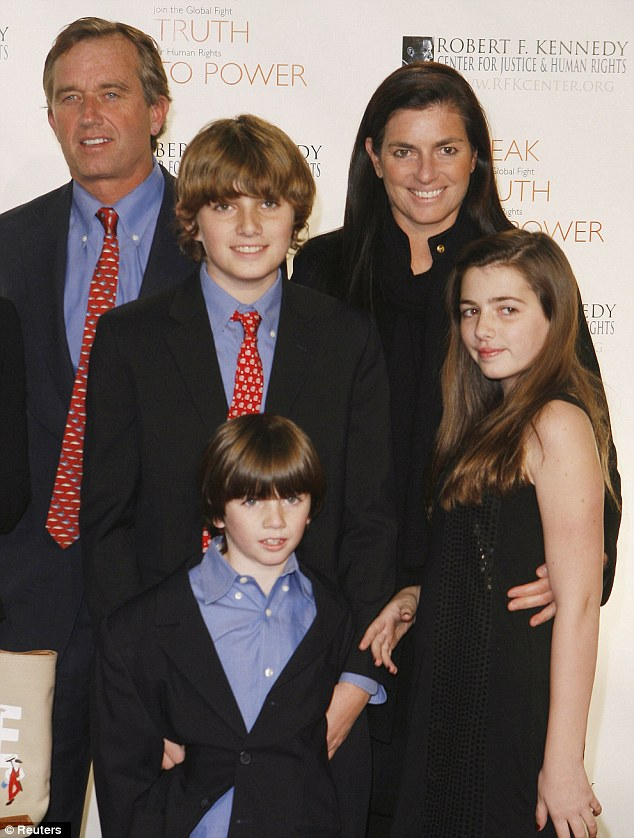 The Kennedys with three of their four children at a gala in 2008
