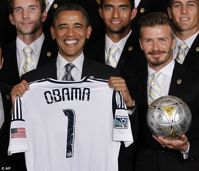 Gifting: Football star David Beckham, right, plans to give President Obama a big box of his H&M underwear after the president made a joke about him last week