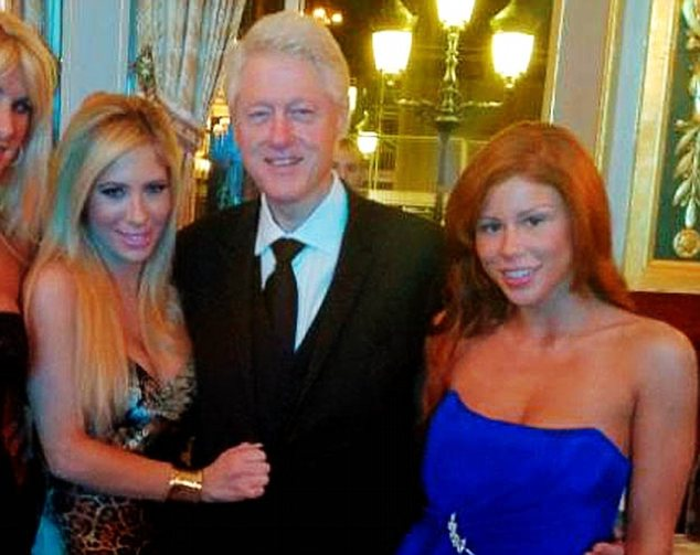 Porn star Brooklyn Lee (right) posted this picture of herself with Bill Clinton and Tasha Reign on Twitter