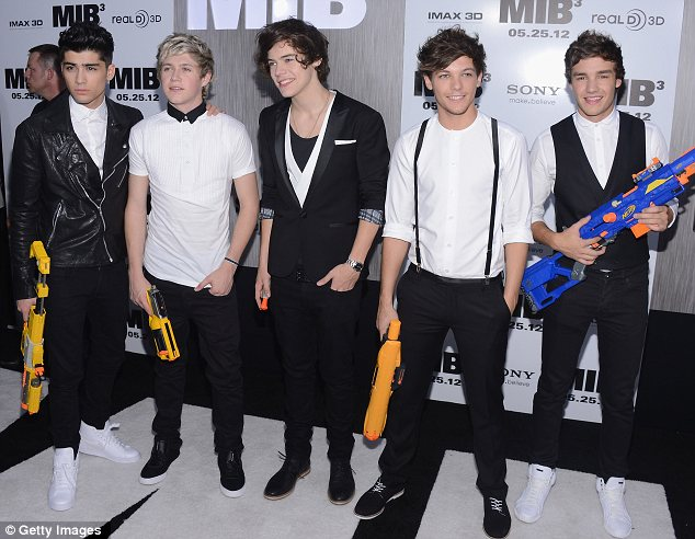 The ultimate accessories: One Direction coordinated monochrome outfits and carried water pistols to stick with the theme of the film