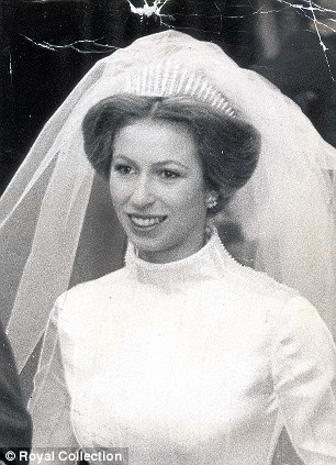 Princess Anne in diamond tiara on her wedding day