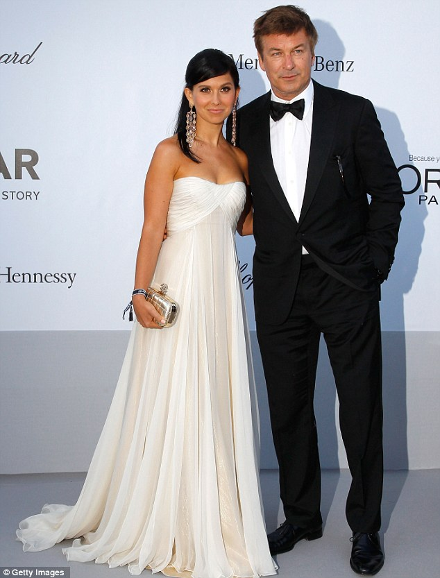 A-list couple: Alec Baldwin looked dapper in a suit and bow tie, with girlfriend Hilaria Thomas on his arm