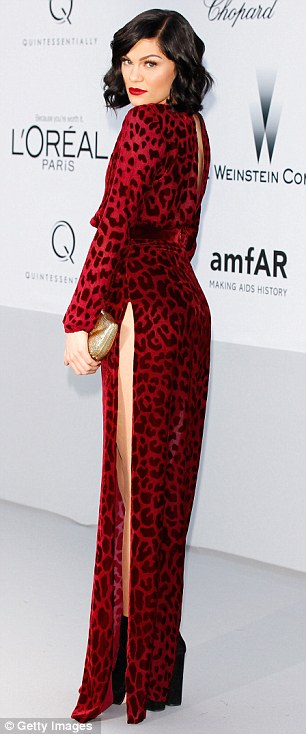 Leggy lady: Jessie J ensured all eye were on her at the amfAR Cinema Against AIDS Gala in Cannes today