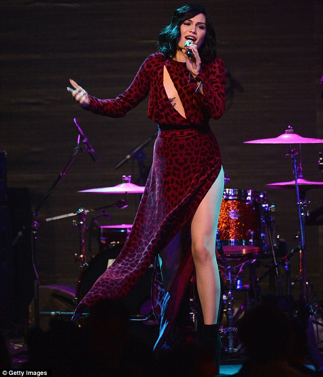 Rousing the crowd: Jessie performed to a star-studded crwod