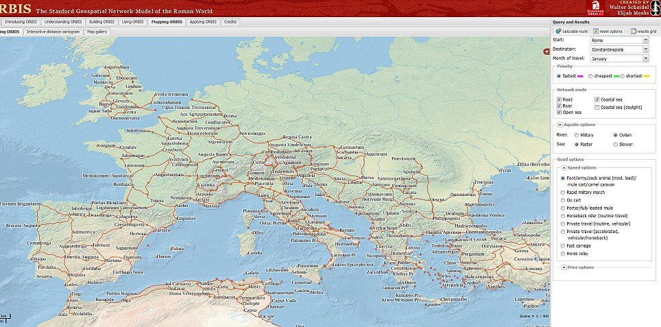 The Roman Empire, mapped: All of the empire can be explored - and you can choose your method of travel, such as mule packs, horseback, rapid military march and sea routes, among others