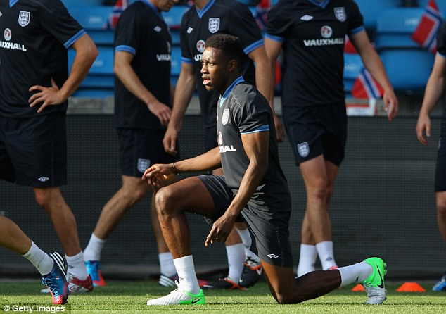 Stretching: Danny Welbeck has been an injury doubt as England prepare for Euro 2012