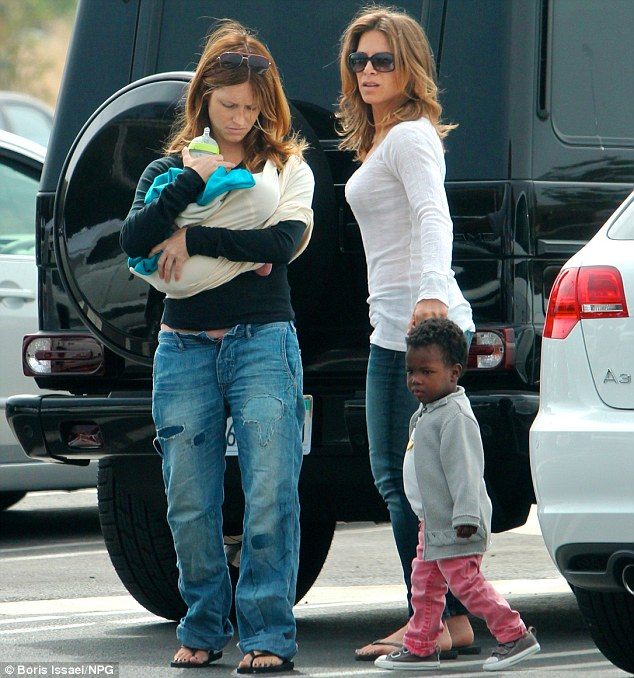 Quickly adjusting: This was the first photo of the family together, in Malibu last Sunday