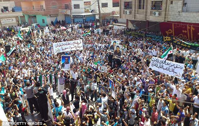 Demonstration: Libyan citizens protest for peace in the southern province of Daraa, yesterday