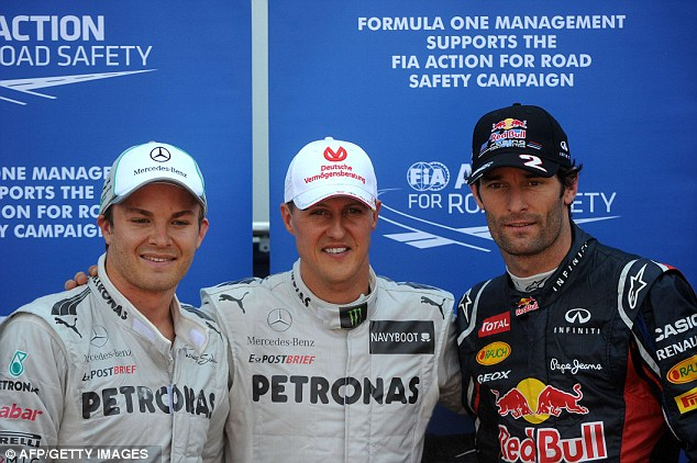 Top three: Michael Schumacher with Nico Rosberg and Mark Webber