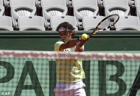 Ready: Nadal trains ahead of the French Open