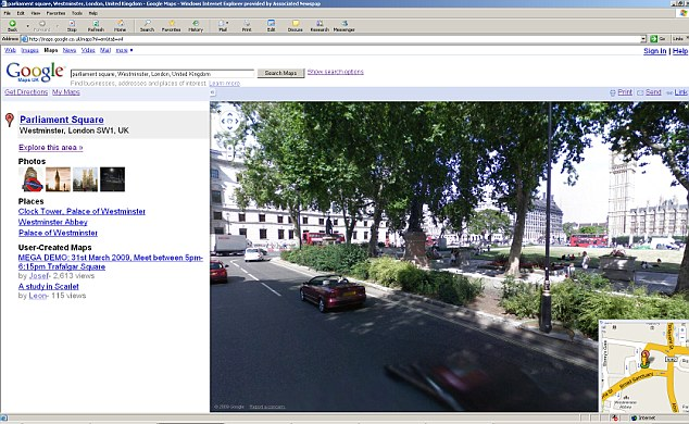 Google Street View swivels around Parliament Square looking towards Big Ben. The bank of personal data collected could have been used by Google to develop new products