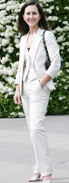 Well-suited: Liz in a cream tuxedo