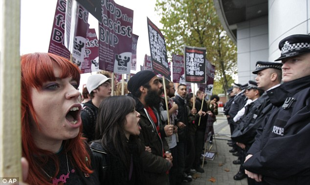 Making her name: Sayeeda Warsi appeared on Question Time with BNP leader Nick Griffin, attracting protests outside the BBC studios (pictured)