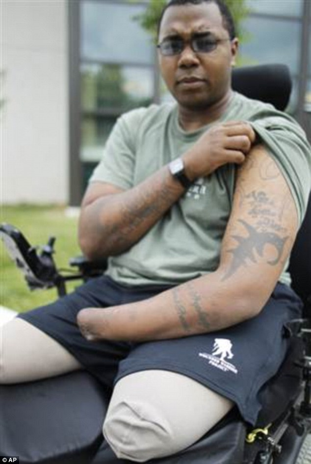 Sacrifice: Triple amputee Larry Bailey II, pictured, is one of the many new veterans who will receive benefits