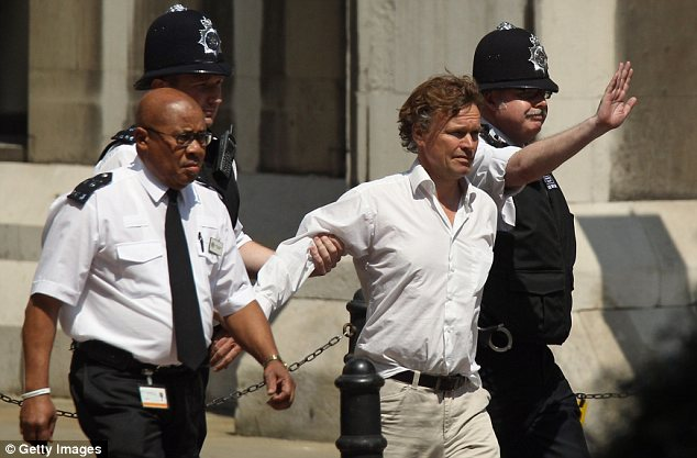 Protester: David Lawley-Wakelin was arrested but it wasn't his first Blair protest. He also interrupted a debate on the Iraq War on BBC's Question Time