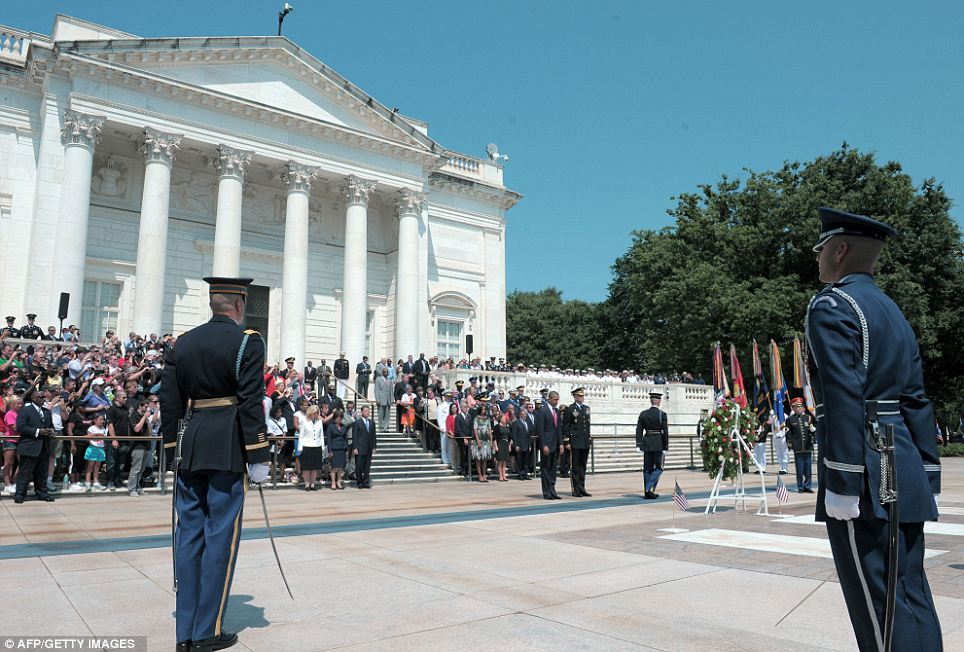 At attention: The ceremony was held leading up to the moment of silence in honor of fallen soldiers from all wars