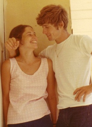 Sue with a boy she met while working on a kibbutz in Israel, 1970