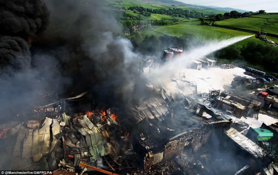 Destructive: Fire crews found a number of silos of solvent ablaze