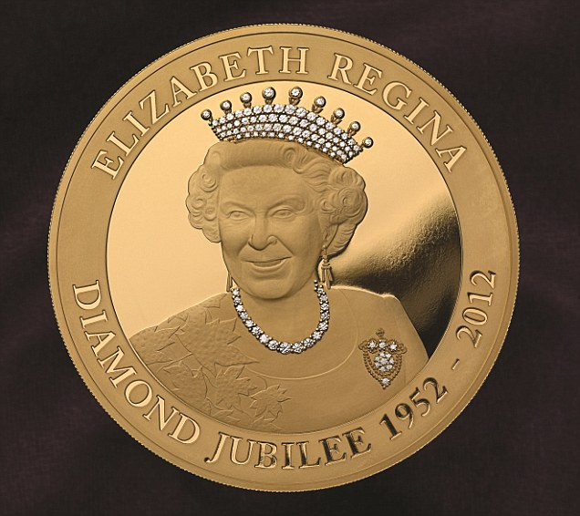 Diamond Queen: The East India Company have released 60 of these gold coins encrusted with diamonds to mark the jubilee