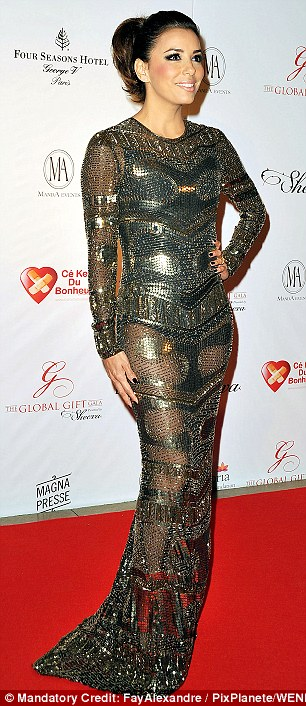 Dazzling: The outing today comes after Eva attended the Global Gift Gala at the Hotel George V in Paris the night before