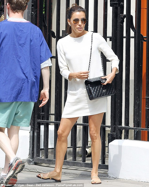Fun in the sun: The Desperate Housewives star enjoyed the current warm weather in the city