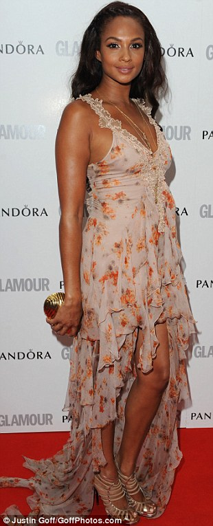 Fabulous in floral: Both Alesha Dixon and Katherine Jenkins opted for eye-catching dresses