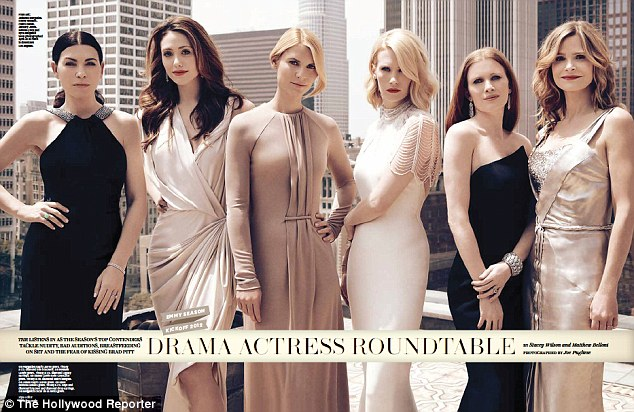 Leading ladies: The actresses posed in glamorous gown for the shoot in downtown Los Angeles