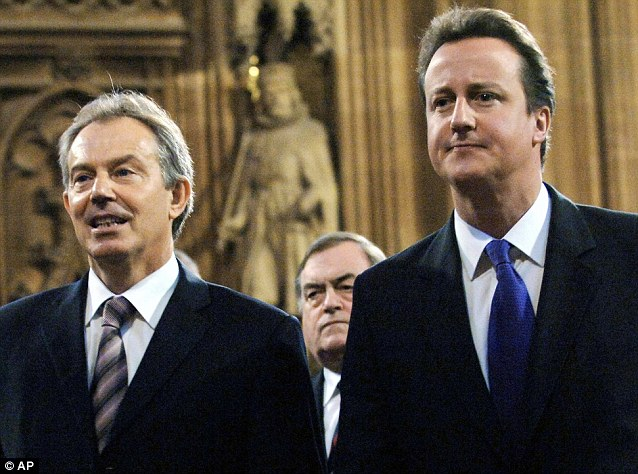 Discussions: Tony Blair has been advising Mr Cameron on how to cope with the rigours of the job at Number 10