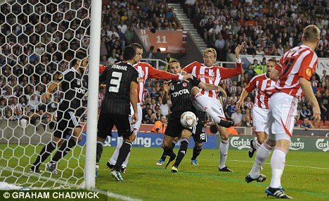 This time next year: Besiktas played Stoke in the Europa League this season but have been barred from the next edition