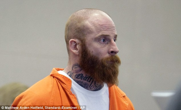 Scary and unkempt: Eric Millerberg with his Death tattoo visible on the left side of his neck appears in court in April 2012 for his preliminary hearing