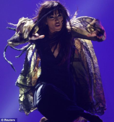 High risk: The song contest venue of Baku Crystal Hall was allegedly a major target along with hotels housing visiting foreigners. Pictured, Loreen of Sweden performs her winning song Euphoria