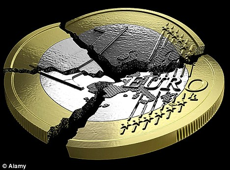 Disintegration: The single currency crashed to its lowest level for nearly two years last night