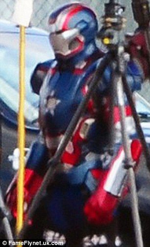 What's going on? Actor James Badge Dale, who plays Lt. Col. Eric Salvin aka Coldblood in the upcoming movie, was seen wearing the Iron Patriot outfit