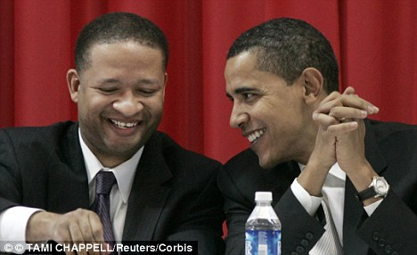 Prior support: Davis, seen in 2007 with the then-Senator Barack Obama, was the first member of congress outside Illinois to support him during his presidential run in 2008