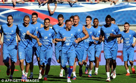 Tough start: France train this week in preparation for Euro 2012