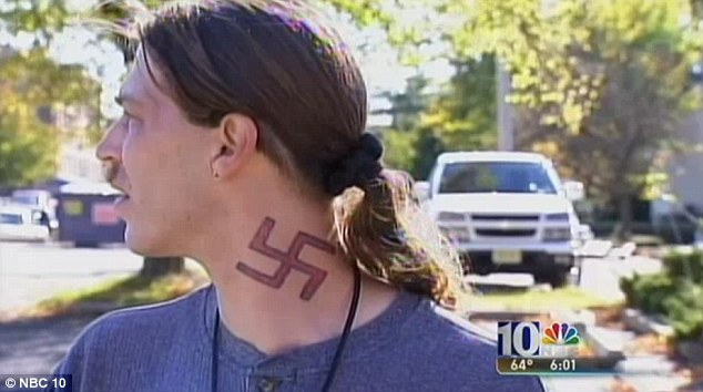 Offensive: Campbell, who collects Nazi memorabilia, also has a swastika tattoo