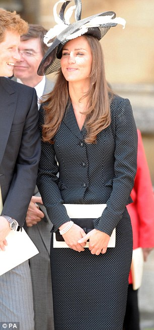 Kate wearing a black and white disc-shaped Philip Somerville creation to watch William join the Order of the Garter at Windsor in 2008