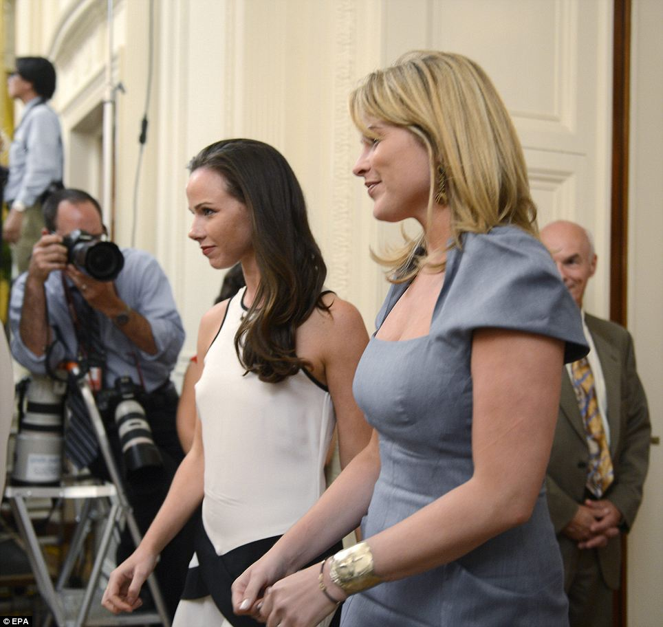 Doting daughters: Twins Barbara and Jenna Bush were at the ceremony and supposedly teared up at the kind words said about their father and mother