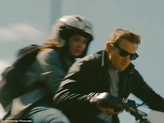 And off they go: They quick thinking rogue agent commandeered the use of someone's motocross bike