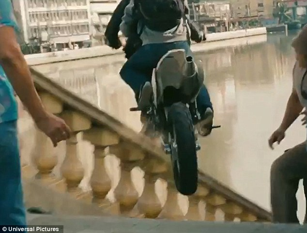 Nice moves: In the movie altered genetics allows Aaron to become an expert bike rider