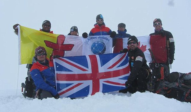 The team have reached the summit of Barbeau Peak
