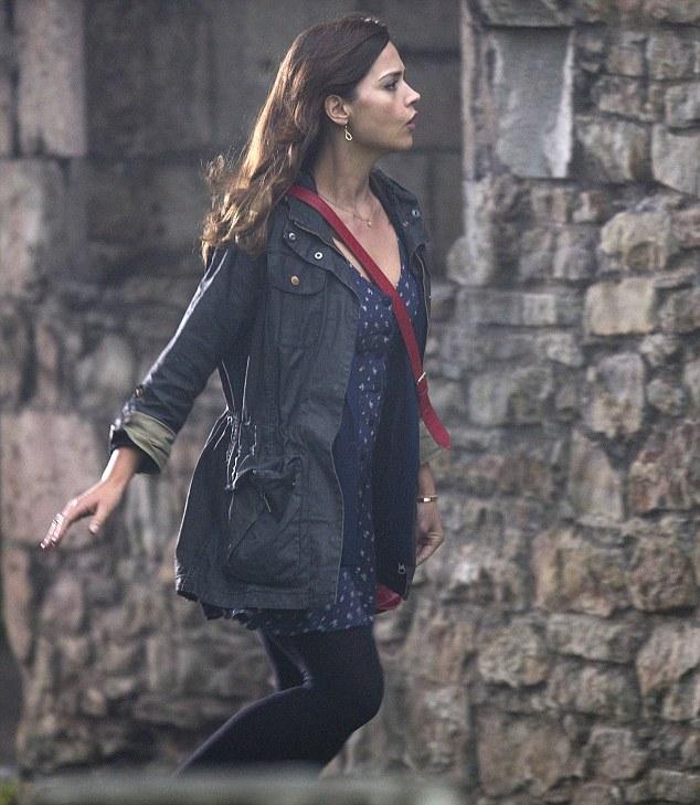 New girl on the Tardis: Former Emmerdale star Jenna-Louise Coleman films scenes for Doctor Who in Port Talbot yesterday
