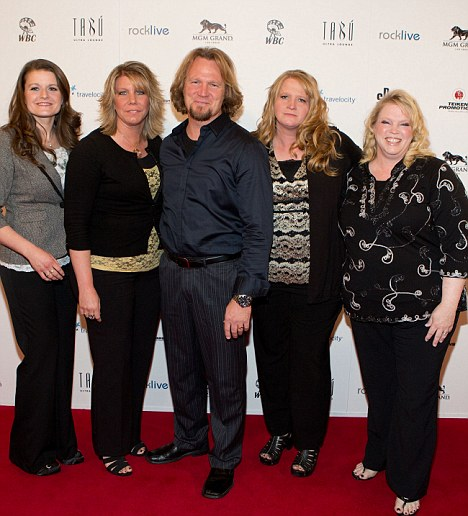 Relief:TLC star Kody Brown, center, poses with his wives, from left, Robyn, Meri, Christine and Janelle at a Las Vegas event last month