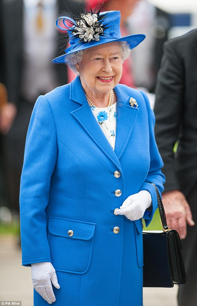 Enjoying herself: Queen Elizabeth II smiled as she watched both performances