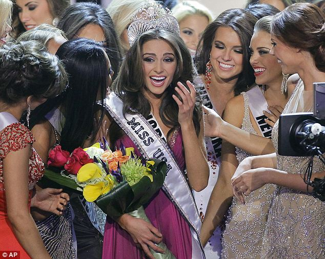 Standing out in the crowd: Miss Culpo, center, won out of the 51 contestants