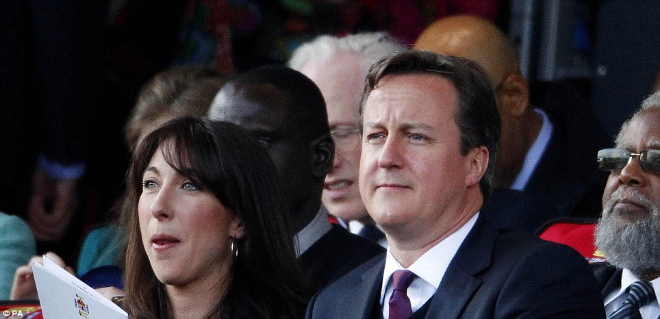 Prime Minister David Cameron and wife Samantha were able to enjoy the concert from the royal box