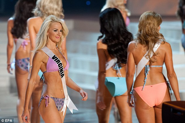 Rearly lovely: The pageant at the Planet Hollywood casino on the Las Vegas Strip had three competitions: swimsuit, evening gowns and interview question