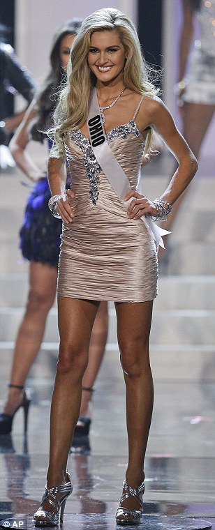 Miss Ohio Audrey Bolte, walks along the stage after being announced as one of 16 finalists
