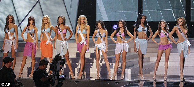 Top ten: The finalists pose on stage during the 2012 pageant. Miss Culpo will represent the United States at the 61st Miss Universe pageant later this year. An American has not been named Miss Universe since Brook Lee won the title in 1997
