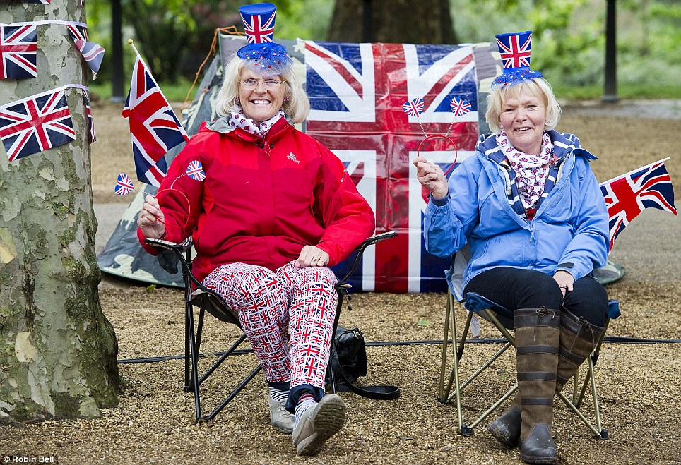 Anne Hall and Wendy Cox, friends from Filey, East Yorkshire have travelled to London especially for the event and are pictured on the Mall